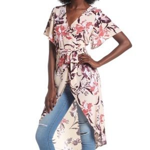 Leith Floral Flutter Sleeve Long Hi-Lo Wrap Blouse